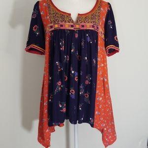 Anthropologie Floreat floral boho tunic top sz 4